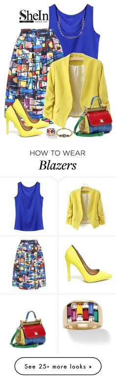 """""""SheIn Multi Colored Skirt"""" by lorrainekeenan on Polyvore featuring Dolce&Gabbana, Bulgari, Palm Beach Jewelry and Ice"""