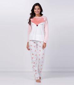 Pijama feminino com bichinhos   Tecido Fleece ou Soft Tamanho M Renner R$ 89,90