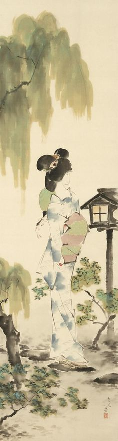 'Cool summer evening', painting by Torii Kotondo (early 20th century).