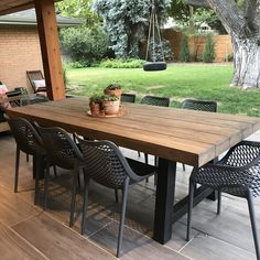 Resin Patio Furniture, Outdoor Dining Furniture, Backyard Furniture, Outdoor Dining Chairs, Outdoor Living, Outdoor Decor, Furniture Ideas, Patio Tables, Furniture Design