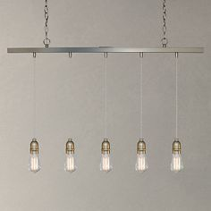Buy John Lewis & Partners Bistro Bar Pendant Ceiling Light, 5 Light, Pewter from our Oversized Lighting range at John Lewis & Partners. Hall Lighting, Kitchen Lighting, John Lewis, Interior Inspiration, Pewter, Dining Table, Dining Room, Living Spaces, Family Room