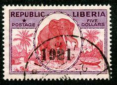 "1921 Scott 208 $5 carmine rose & violet, OP ""1921"" ""Elephant"""