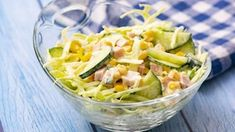 Made with fresh cabbage, cucumbers, ham, corn and scallions, this tasty and crunchy Cabbage and Ham Salad makes a quick lunch or side dishINGREDIENTS 1 small cabbage 4 cucumbers 1 can sweet corn ( Creamy Coleslaw Dressing, Coleslaw Salad, Ham Salad, Pasta Salad, Healthy Dishes, Tasty Dishes, Healthy Recipes, Canning Sweet Corn, Small Cabbage