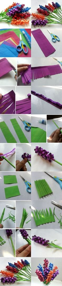 Swirly Paper Flowers look really cute. My first thought was to try rolling the paper before cutting into strips.DIY Swirly Paper Flowers look really cute. My first thought was to try rolling the paper before cutting into strips. Kids Crafts, Cute Crafts, Crafts To Do, Craft Projects, Arts And Crafts, Easy Crafts, Flower Crafts, Diy Flowers, Fabric Flowers