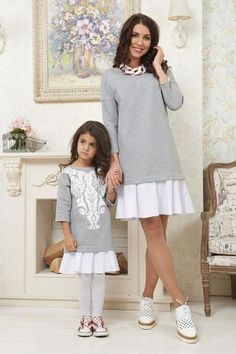 Good item 2017 New Lady's Mother Daughter Matching Dresses Chrismas Floral Print Girl Loose Dress Long Sleeve Cotton Clothes Outfit Mother Daughter Dresses Matching, Mother Daughter Fashion, Mom Daughter, Mom And Baby Outfits, Family Outfits, Kids Outfits, Mini Vestidos, Little Girl Dresses, Girl Clothing