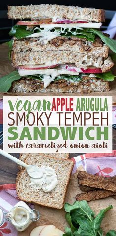 The vegan tempeh sandwich that encompasses fall and all its flavors! Smoky tempeh, sweet apples and spicy arugula, a perfect dipper for those winter soups. Vegan Foods, Vegan Dishes, Vegan Vegetarian, Vegetarian Recipes, Healthy Recipes, Tofu Recipes, Raw Vegan, Going Vegetarian, Vegetarian Breakfast