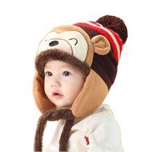 Fashion Winter Warm Kid Caps Baby Girl Boy Ear Thick Knit Beanie Hat Cute Cartoon Cap