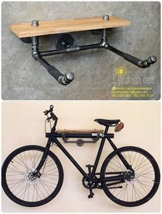 What if we also re-use the remaining hydraulic systems? 23 Really exaggerated id… What if we also re-use the remaining hydraulic systems? 23 Really exaggerated ideas; Bike Hanger, Bike Rack, Pipe Furniture, Industrial Furniture, Industrial Lamps, Vintage Industrial, Furniture Design, Furniture Vintage, Table Furniture