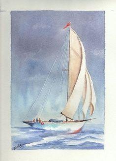 """peinture aquarelle """"voilier"""" Plus Watercolor Landscape, Watercolour Painting, Painting & Drawing, Landscape Paintings, Sailboat Art, Sailboat Painting, Sailboats, Frida Art, Urbane Kunst"""
