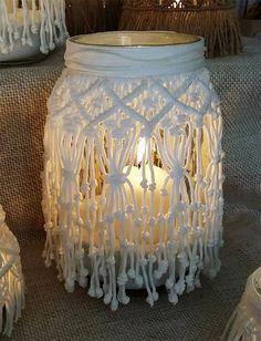 Lanterna o Vaso in Macramè, centrotavola, arredo casa, centrotavola nozze