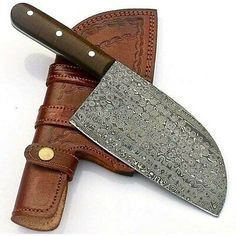 """Condition is """"New"""". Handmade Damascus steel cleaver knife handmade chopper knife chef knife butcher knife gift knife with leather sheath."""