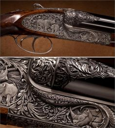 With deep relief, full coverage engraving by Philippe Grifnee, this rifle represents one of the finest hunting guns ever made by the venerable firm of Holland & Holland. Various species of rhino are featured, with an Indian rhino on the triggerguard, Sumatran and Javan rhinos on top, black rhino on right frame, and white rhino on the left and bottom of the frame.