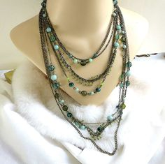Vintage Multi Strand Beaded Necklace in Shades of Green & Blue by MyVintageJewels on Etsy