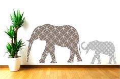 Nursery Mother and Baby Elephant Wall Decals for Children via Etsy