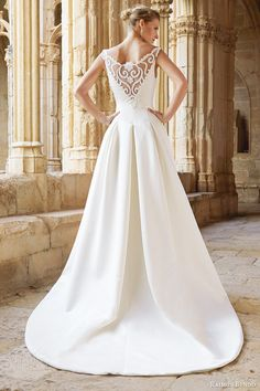 raimon bundo #bridal 2015 natural collection montreal sleeveless #wedding dress illusion neckline back view train #weddings #weddingdress #sleeveless See more at: http://www.weddinginspirasi.com/2014/10/20/raimon-bundo-2015-wedding-dresses-natural-bridal-collection/