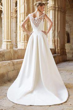 raimon bundo bridal 2015 natural collection montreal sleeveless wedding dress illusion neckline back view train