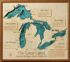 Hand crafted lake map topography art from UncommonGoods. Need it of Lake Champlain! Wooden Map, Lake Art, Lake Huron, Personalized Wall Art, Lake Cottage, Cottage House, Cottage Living, Living Room, Farm House