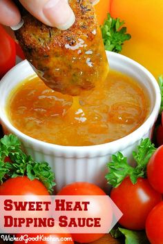 Sweet Heat Dijon-Apricot Dipping Sauce by WickedGoodKitchen.com ~ Quick and easy, 2-ingredients and oh so satisfying with chicken, pork or s...