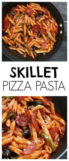 Skillet Pizza Pasta is a one pot meal that any pizza-loving family will enjoy! Ready in the amount of time it takes your pasta to cook, this easy weeknight meal is go-to dinner in our house! @Mom to Mom Nutrition- Katie Serbinski, MS, RD