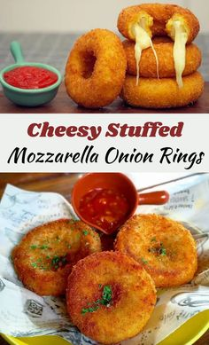 Fried food fans, you better ready yourselves- the ultimate fried food has decided to grace us in this crazy year, and it comes stuffed with cheese. #CheesyStuffed #Mozzarella #OnionRings Great Recipes, Favorite Recipes, Tasty, Yummy Food, Onion Rings, Junk Food, Food Hacks, Finger Foods, Appetizer Recipes