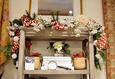 Green, red, and white decorative garland from @kelloggfurn