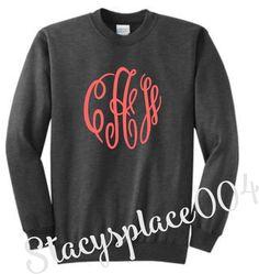 monogrammed sweater, monogrammed sweatshirt, monogrammed crew neck, sweater, sweatshirt, dark heather grey