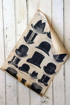 Vintaged Tea Stained Gift Wrap - Hats, amazing as a framed print
