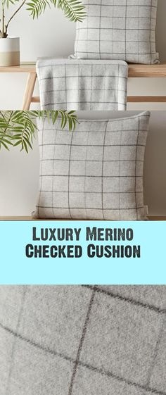 Luxurious Merino Checked Cushion - #checked #cushion #luxurious #merino Grey Flooring, Throw Pillows, Luxury, Decoration, Home, Ideas, Toss Pillows, Dekoration