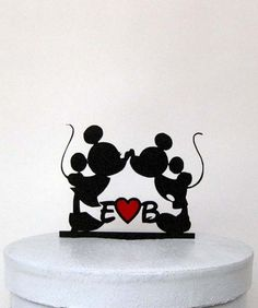 This Custom Mickey and Minnie Wedding Cake topper comes with Personalized initials in Disney font and red heart Please send me a note about your