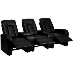 Black Leather 3-Seat Home Theater Recliner with Storage Consoles