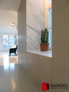 Grey stained oak veneer, arabescato marble.  Mitre joined. Amsterdam. Design.