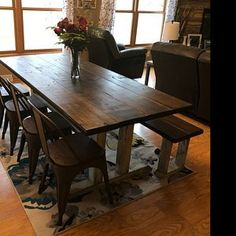 Square Farmhouse Table, Rustic Farmhouse Table, Dining Set with Stools, Table with Short Benches, Provincial Brown Top Gray White Wash Base Barnwood Coffee Table, Wood Table Rustic, Rustic Farmhouse Table, Rustic Furniture, Dinning Room Tables, Dining Set, Moving Furniture, Small Spaces, Free Plans
