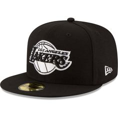 Men's Los Angeles Lakers New Era Black Black & White Logo Adjustable Snapback Hat Black And White Logos, Black White, Color Black, Lakers Hat, Nba Los Angeles, Nba Merchandise, New Era Cap, Mens Caps, Snapback Cap