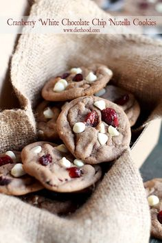 Cranberry White Chocolate Chip Nutella Cookies: Sweet and delicious Nutella Cookies studded with white chocolate chips and dried cranberries.