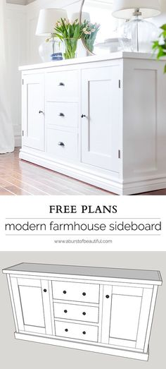 Modern Shaker Sideboard Plans Building a modern farmhouse sideboard buffet is easy with these free plans.Building a modern farmhouse sideboard buffet is easy with these free plans. Diy Furniture Plans, Design Furniture, Woodworking Furniture, Plywood Furniture, Pallet Furniture, Furniture Projects, Home Furniture, Wood Projects, Woodworking Projects