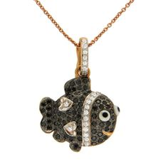 """0.43 CT Diamond 18K Gold Fish Pendant With 14K Gold Chain Necklace Size 18""""»N14 #Unbranded #Necklace"""
