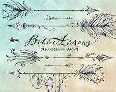 Boho Arrows. 17 hand drawn Clipart. Tribal, native diy elements, logo, invitation, pencil, transparent, digital png, style, tattoo, romantic by OctopusArtis on Etsy https://www.etsy.com/listing/503129416/boho-arrows-17-hand-drawn-clipart-tribal
