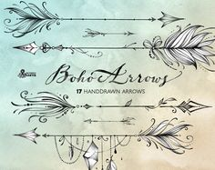 Boho Arrows. 17 hand drawn Clipart. Tribal, native diy elements, logo, invitation, pencil, transparent, digital png, style, tattoo, romantic by OctopusArtis on Etsy https://www.etsy.com/listing/503129416/boho-arrows-17-hand-drawn-clipart-tribal