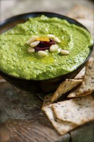 Green Monster Hummus. Enjoy with Carrots Sticks or Cucumber Slices.