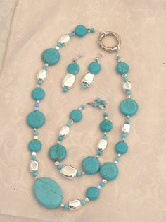 Turquoise & Silver jewelry set by DefiniteClarity on Etsy, $15.00