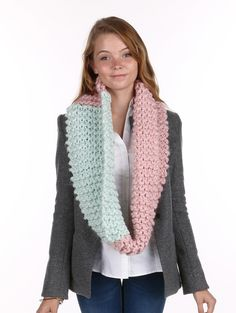 Fashion Jewelry Christmas Gift Ideas Scarf Two Color Hand Knit Infinity 47 Inch Long X 12 Inch Wide 100% Acrylic One Size