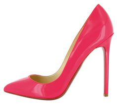 Christian Louboutin Pigalle 120 Patent-Leather Pumps in neon watermelon pink.