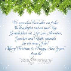Das Team von Tatjana Marintschuk Photography bedankt sich herzlich für ein gutes Miteinander und die angenehme Zusammenarbeit! Mit den besten Wünschen für eine freudenreiche Weihnachtszeit & ein gesegnetes neues Jahr! Herzlichen Grüß Tatjana.