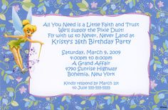 Peter Pan's Tinkerbell Floral Birthday Invitation Can be used for any occasion. By www.TCWDESIGNS.com Birthday Thank You, 16th Birthday, 1st Birthday Parties, Birthday Ideas, Unique Wedding Invitation Wording, Birthday Party Invitation Wording, Invite, Disney Invitations, Wedding Response Cards