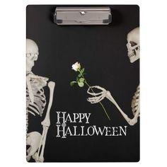 Skeletons Funny Romantic Happy Halloween Clipboard