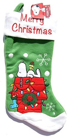 Peanuts Snoopy and Woodstock Christmas Stocking - 18 inches @ niftywarehouse.com #NiftyWarehouse #Peanuts #CharlieBrown #Comics #Gifts #Products