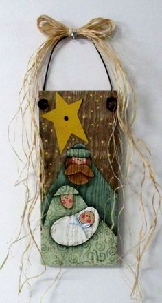 Folk Art Nativity, Tole or Hand Painted on Barn Wood, Rustic Nativity, Reclaimed Wood, Noel Sign, Christmas Sign, Mary, Joseph, and Baby