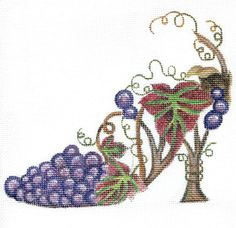 Handpainted Grapevine Slipper Needlepoint Canvas by colors1 (Craft Supplies & Tools, Sewing & Needlecraft Supplies, Canvas & Stitchables, pillow, grapevine, decoration, slipper, home decor, purple, cross stitch, embroidery, needlepoint, needlepoint canvas, needlepoint pillow, needlepoint pattern, needlecraft)