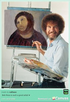 Bahahahahaha!  Botched Jesus Painting Restoration is Really a Bob Ross Self-Portrait