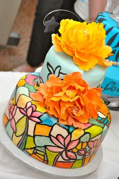 A stained glass cake made by an ICE Pastry & Baking Arts student
